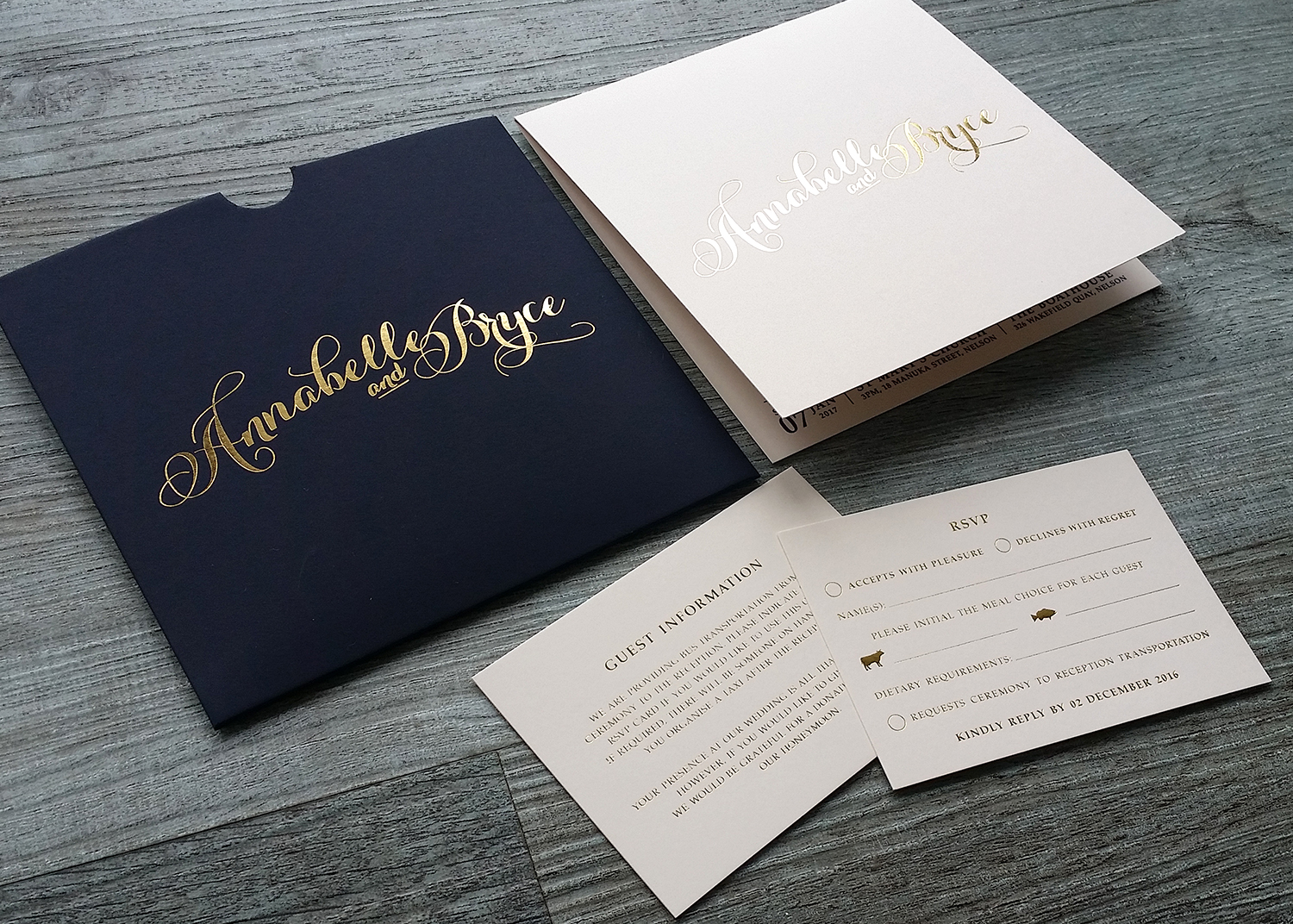 Gift voucher invitation sleeves foil printing pinc new zealand ivory gold and navy invitation set stopboris