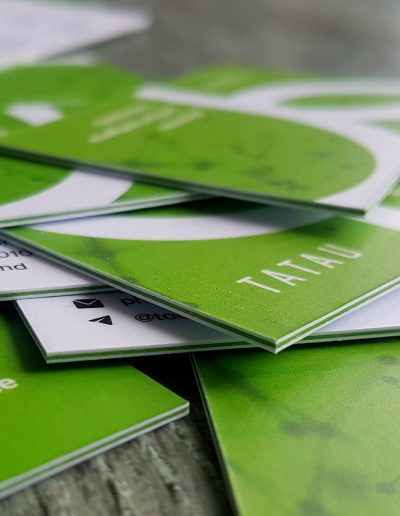 Ultra thick business cards - double sided digital print on white with lime green card in between for a coloured seam