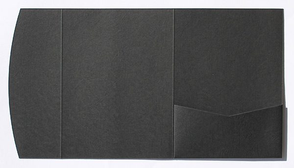 Black leather embossed pocketfold envelope to fit 5x7 inch