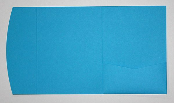Bright blue pocketfold envelope to fit 5x7 inch