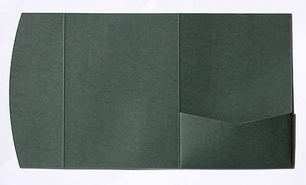 Dark green pocketfold envelope to fit 5x7 inch