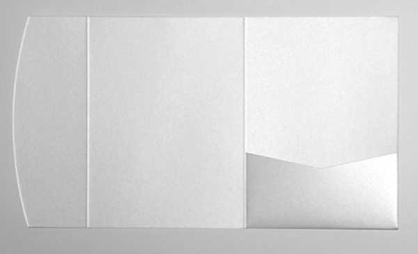 White metallic pocketfold envelope to fit 5x7 inch