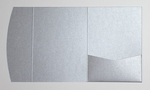Light silver pocketfold envelope to fit 5x7 inch