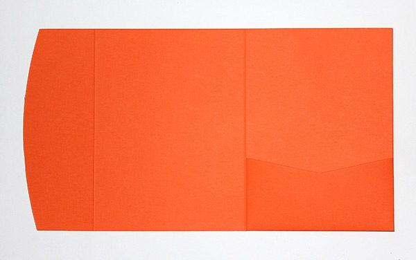 Orange pocketfold envelope to fit 5x7 inch