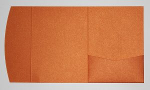 Orange metallic pocketfold envelope to fit 5x7 inch
