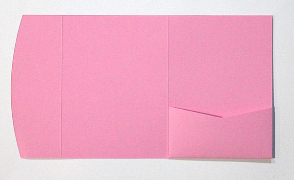 Light pink pocketfold envelope to fit 5x7 inch