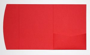 Red pocketfold envelope to fit 5x7 inch