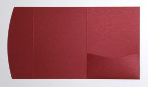 Red metallic pocketfold envelope to fit 5x7 inch