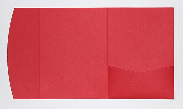 Textured red pocketfold envelope to fit 5x7 inch