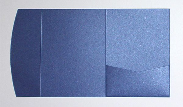 Blue metallic pocketfold envelope to fit 5x7 inch