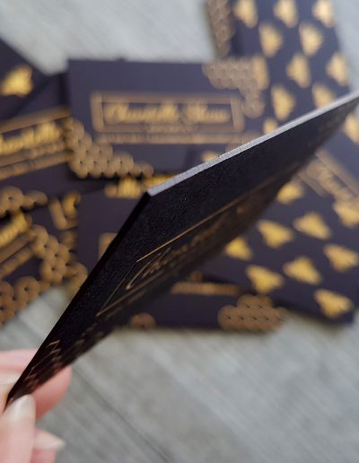 Ultra thick 700 gsm black card with gold foil stamps