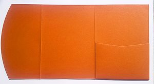 A5 presentation folders - orange metallic pocketfold