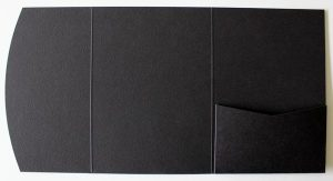 Textured black pocketfold envelope to fit A6 cards