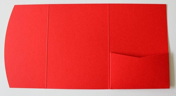 Red textured pocketfold envelope to fit A6 cards