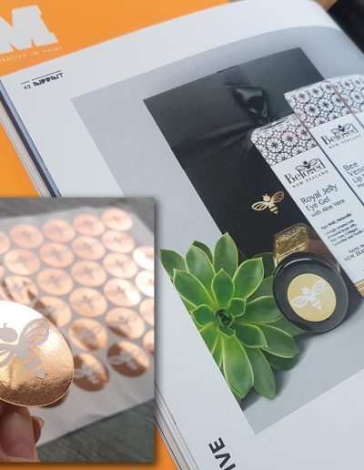 Stickers for Beloved printed by Pinc spotted in a GSM Magazine featuring Nicci Theron's design work
