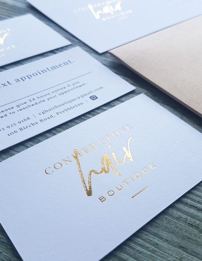 Gold foil stamped appointment cards