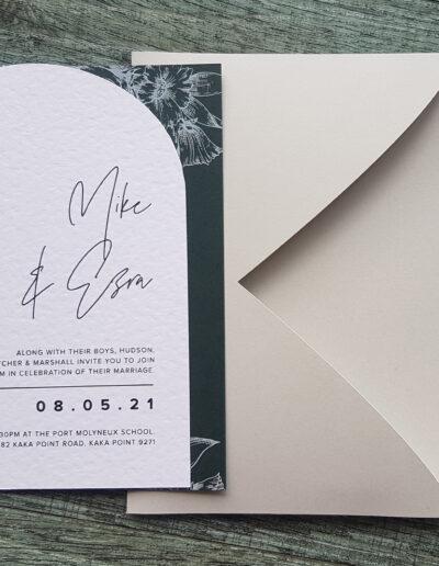 custom shape wedding invitations nz