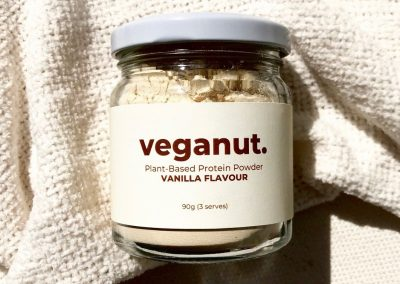 Product labels printed for Veganut's protein powders