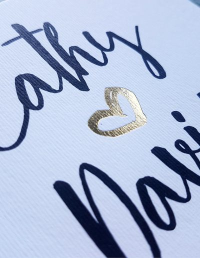 Lovely little gold heart on NZ wedding invitations
