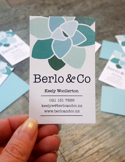 Colour printing on textured card, bonded with a layer of teal metallic on the backs