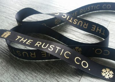 Personalised ribbon for The Rustic Co, NZ candle company