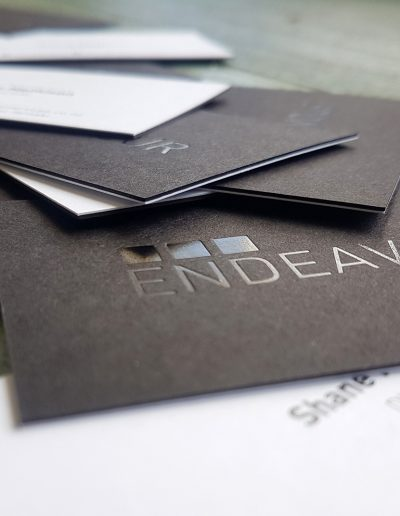 business cards with black front and white back