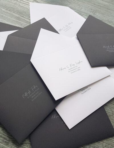 black and white envelopes