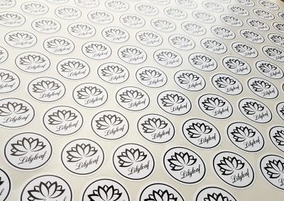 Logo stickers! Black on white, printed for local Hibiscus Coast business, Lilyleaf