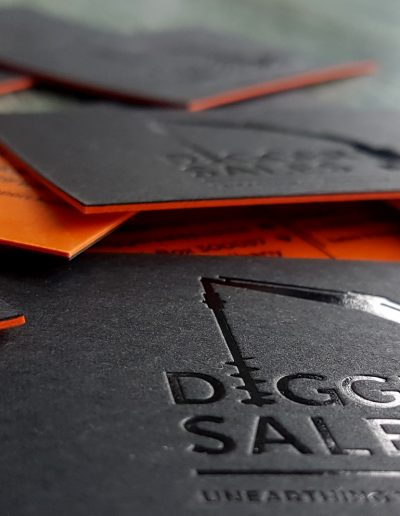 Ultra thick business cards with black and orange layers, for coloured edges