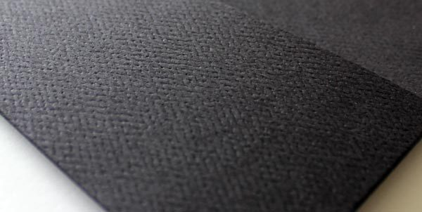 Close up showing textured black finish
