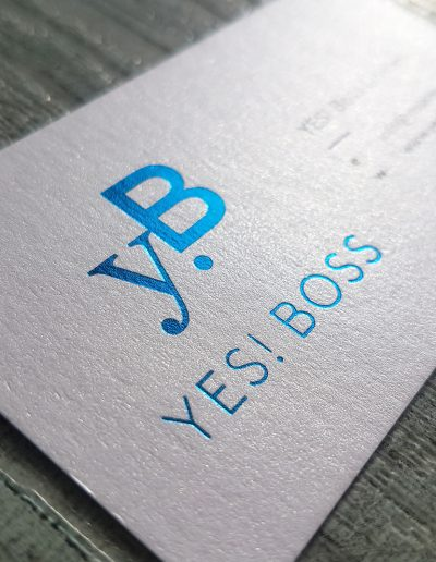 Blue foil on metallic white - Yes Boss business cards