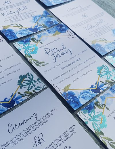 Blue foil wedding invitation design, Auckland