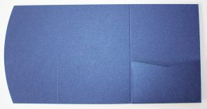 Metallic blue pocketfold envelope to fit A6 cards