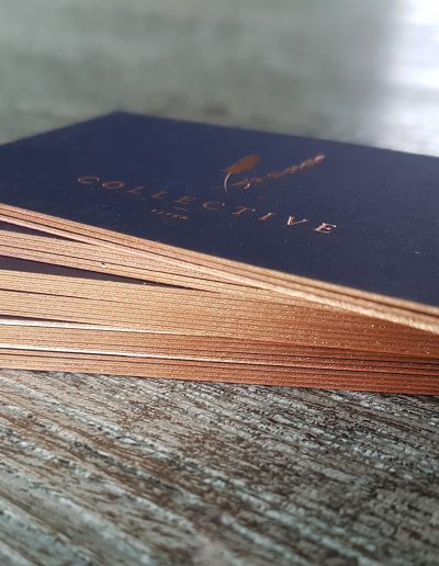 Blush edge painting on navy cards