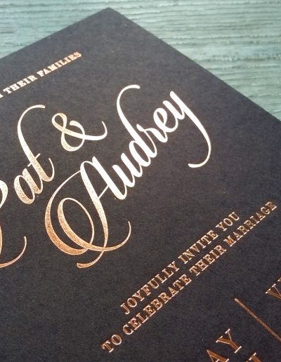 Blush foil on thick black card