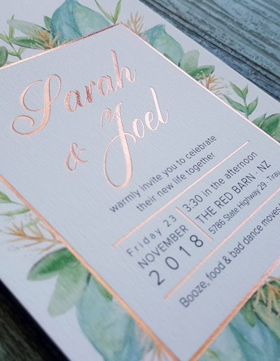 NZ wedding invitation with green leaf botanical theme