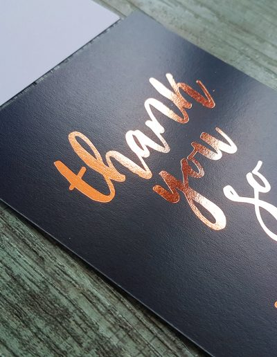 Rose gold foil on navy thank you cards for NZ photographer