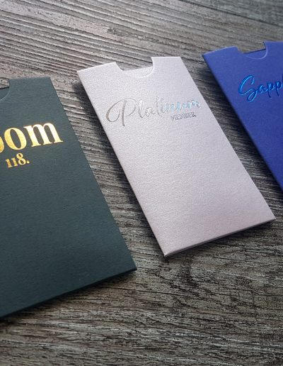 Set of custom branded sleeves printed for Dunedin Casino