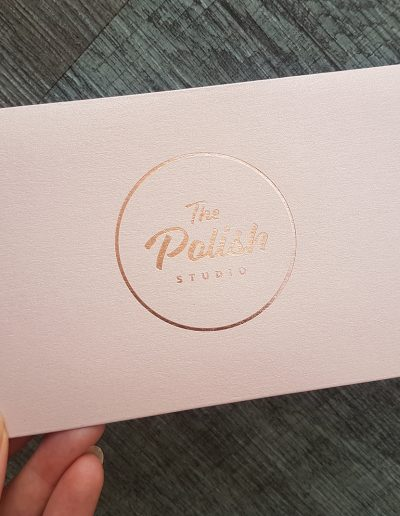Custom branded sleeves for The Polish Studio - rose gold foil on rose gold sleeves