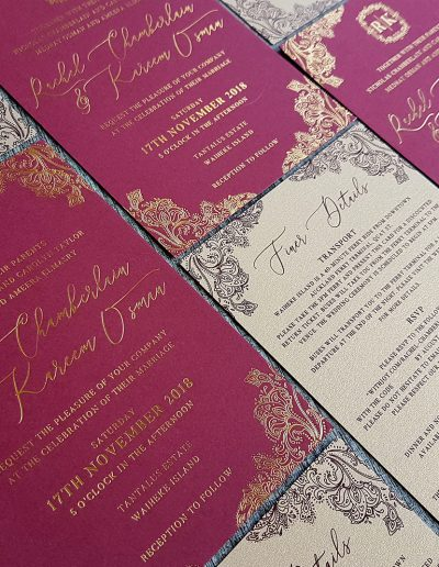 Burgundy and gold invitation set designed and printed by Pinc