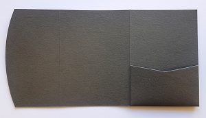 Charcoal grey pocketfold envelope to fit A6 invitations