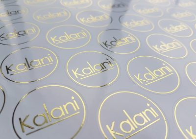 Gold foil logo stickers printed for Kalani Soy Candles