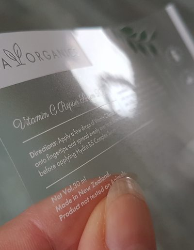 White print on clear labels - perfect for sticking on to dark bottles!