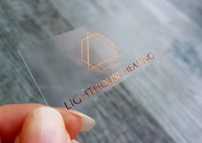 Clear stickers with rose gold foil stamp