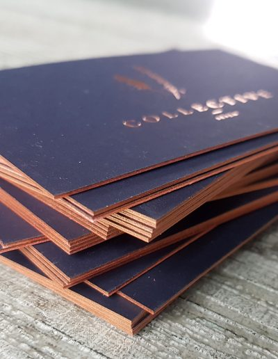 Edge painting on navy cards