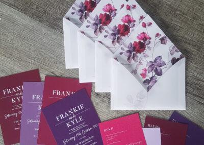custom floral envelopes purple pink burgundy tones