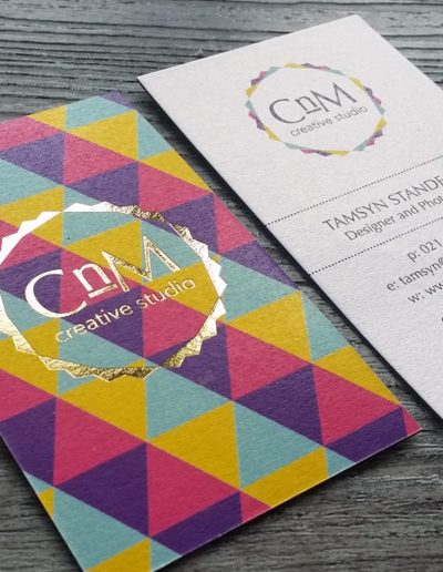 Colourful business cards with gold foil stamp