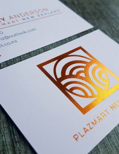 Copper foil business cards designed and printed by Pinc