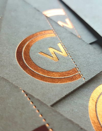 Copper foil on kraft business cards