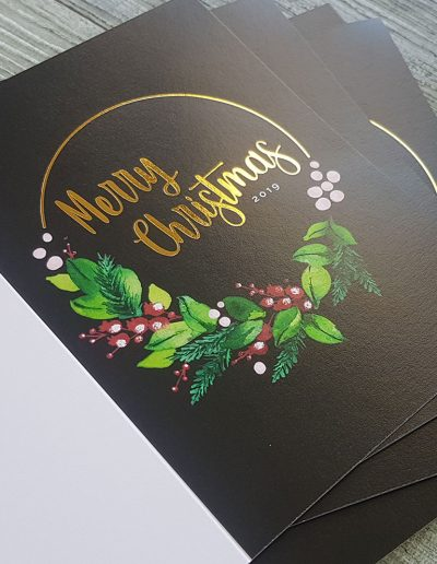 Personalised Christmas cards with gold foil stamp